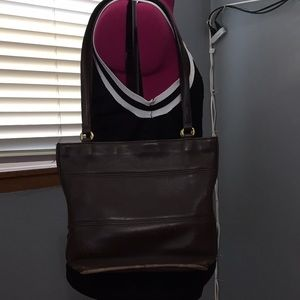 Vintage Brown Leather Zipper Top Bucket Bag
